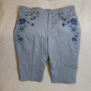 Blue and White Crop Jeans